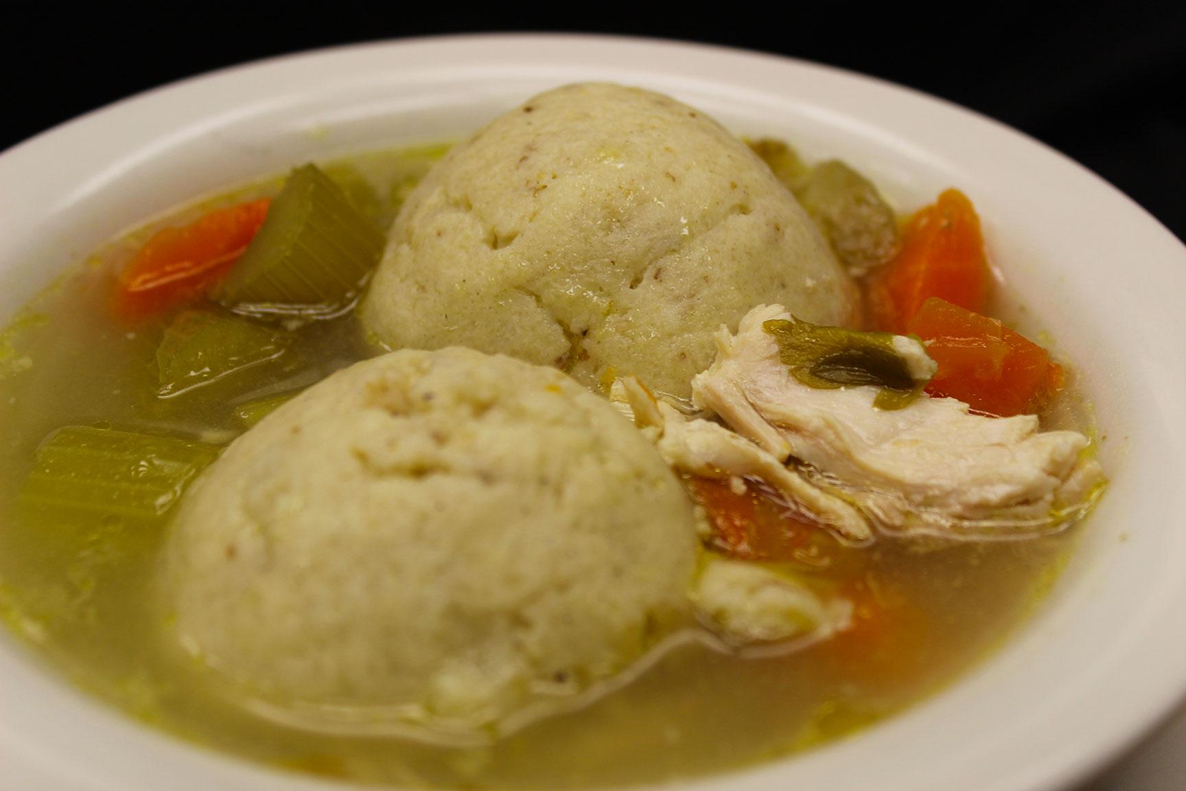 Chicken matzo ball soup at Mrs. Marty's Deli